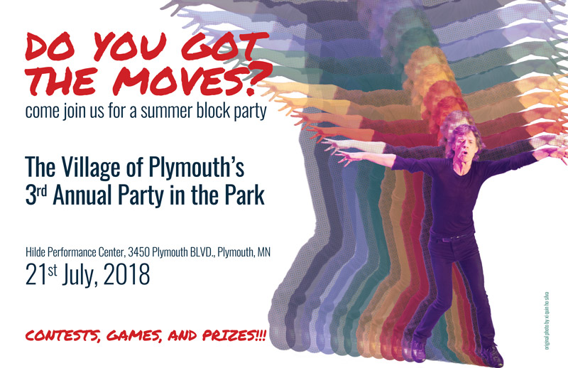 "poster created for fictional summer concert series, tag line reads ""do you got the moves?: come join us for summer block party"", then describes that it is a party in the park followed by a location and date for the event; lastly mentions contests, games, prizes; to the right of the text is a colorful graphic/photo of mick jagger"