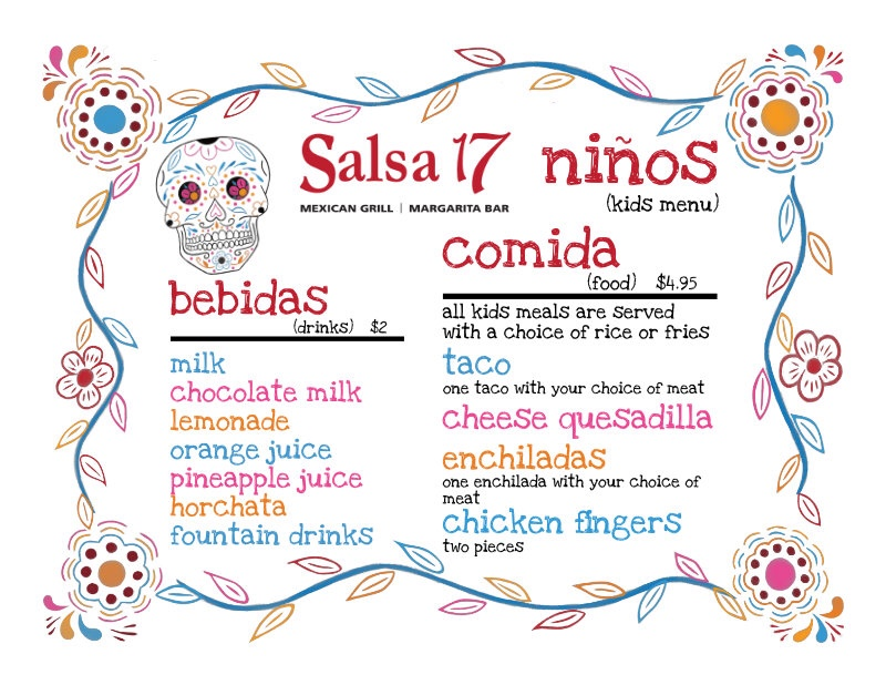 "floral chalk drawn border and ""dia de los muertos"" skull with drinks and food for kids printed on center"