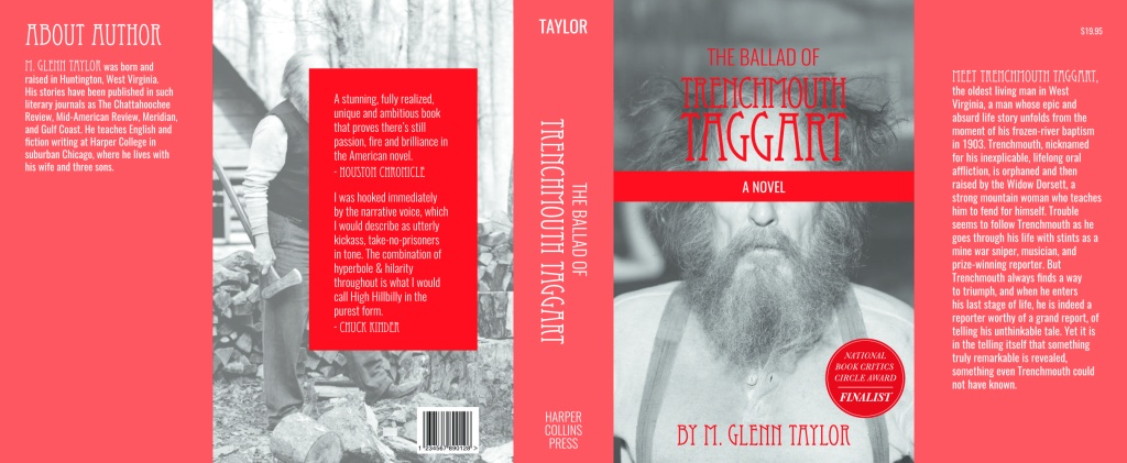 Book jacket using black and white photos of disheveled old man using red element to make text on book jacket pop
