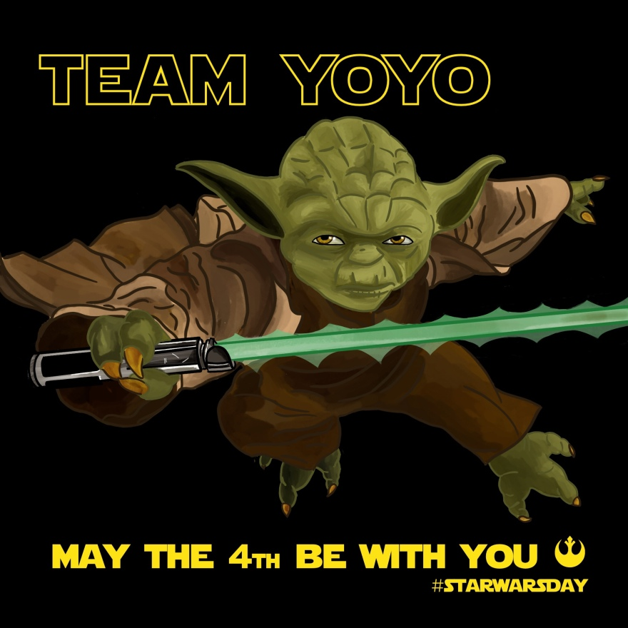illustration of yoda holding lightsaber, text above him reads Team Yoyo, text below him reads May the 4th be With You #starwarsday