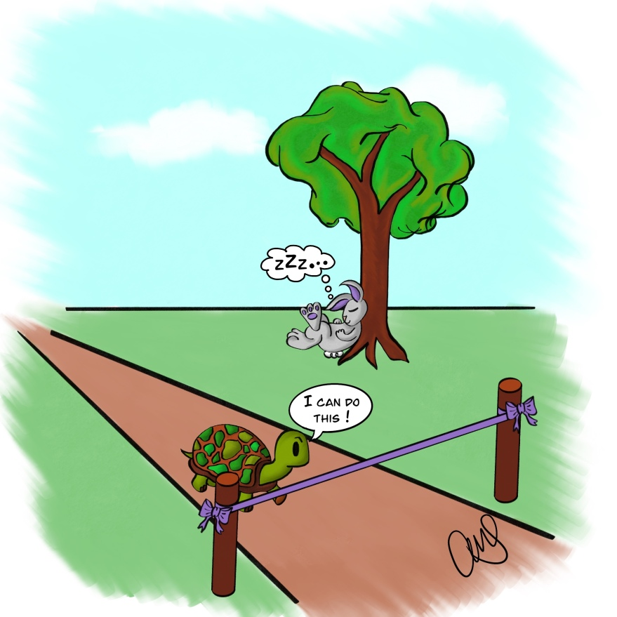 cartoon illustration of tortoise crossing the finish line while a hare sleeps near by under a tree.