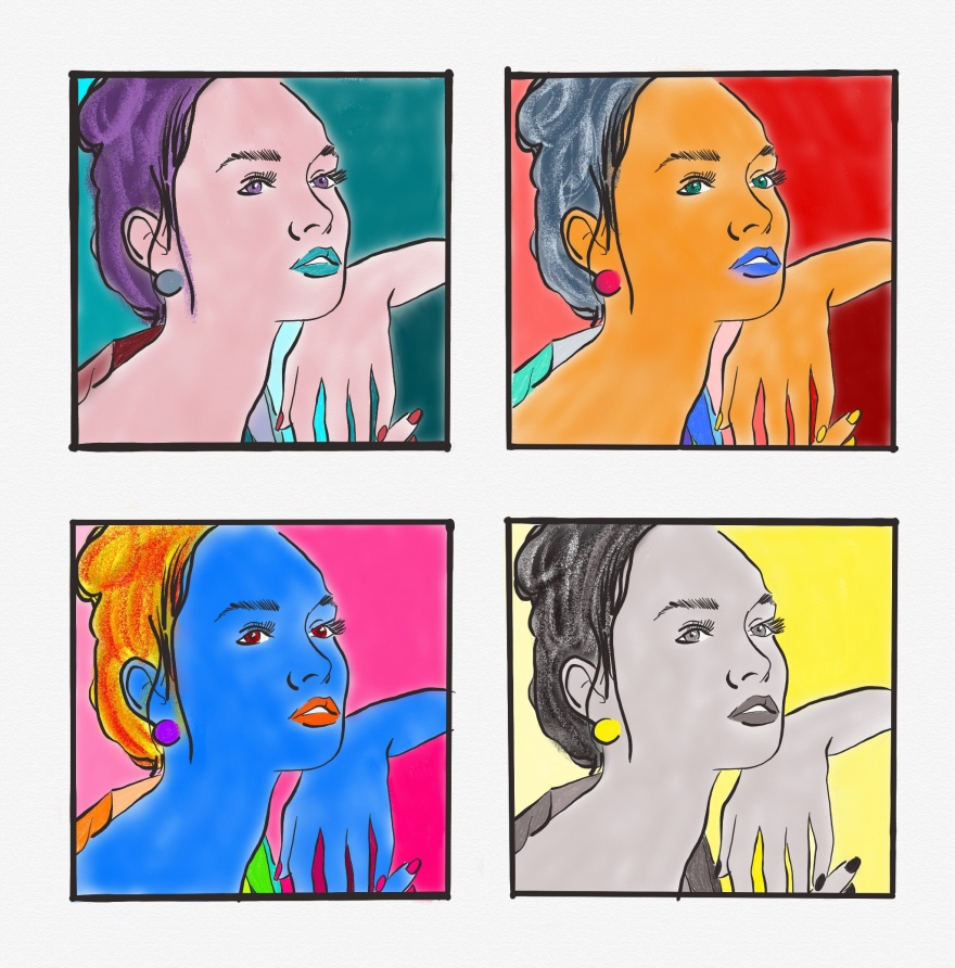 grid of 4 identical images of girl drawn and colored warhol style. upper left: purple, pink, and teal; upper right: reds, oranges, and blues; lower left: bright rainbow with bold blue, yellow, pink, and reds; and lower right is monochromatic greys and blacks with yellow background