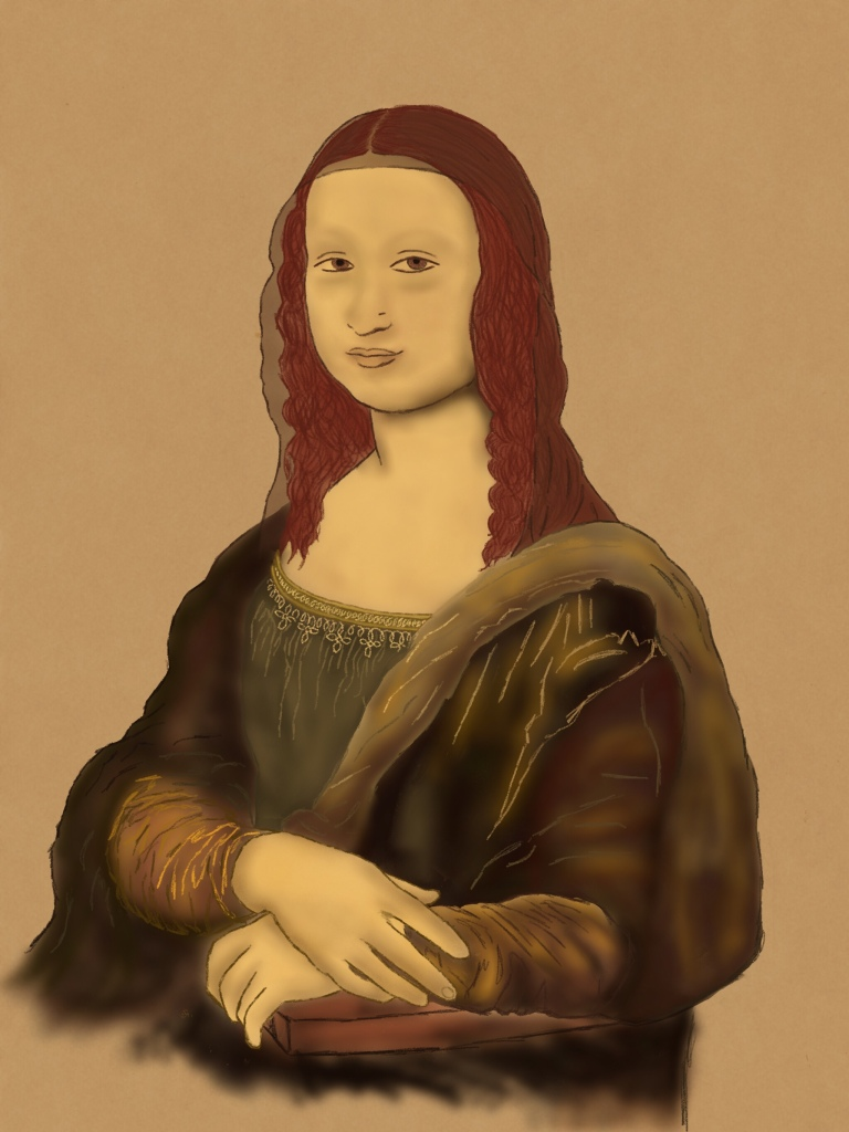 color pencil and smudged drawing of the mona lisa. using brown, tan and reddish tones on a brown backdrop (no scenery in my version)