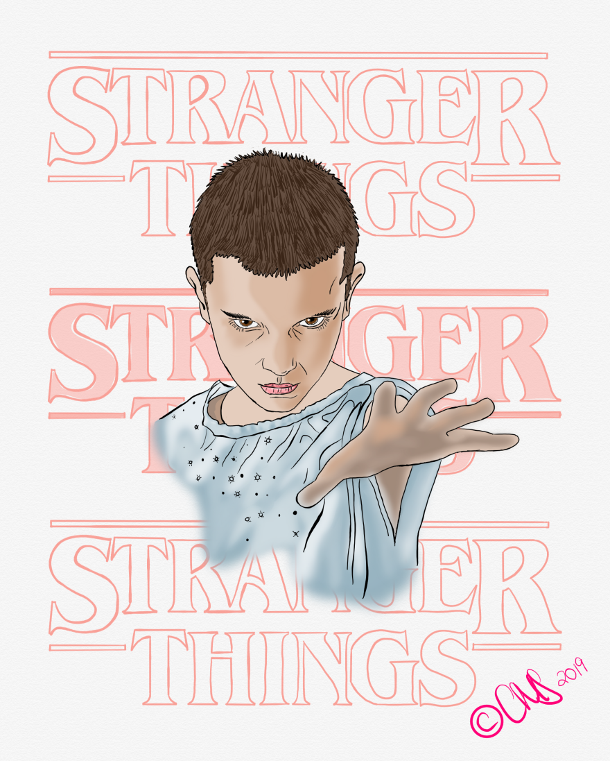 hand drawn illustration of eleven from stranger things from season 1, holding out hand in hospital gown, background is stranger things logo patterned out behind eleven in faded red color to match the logo