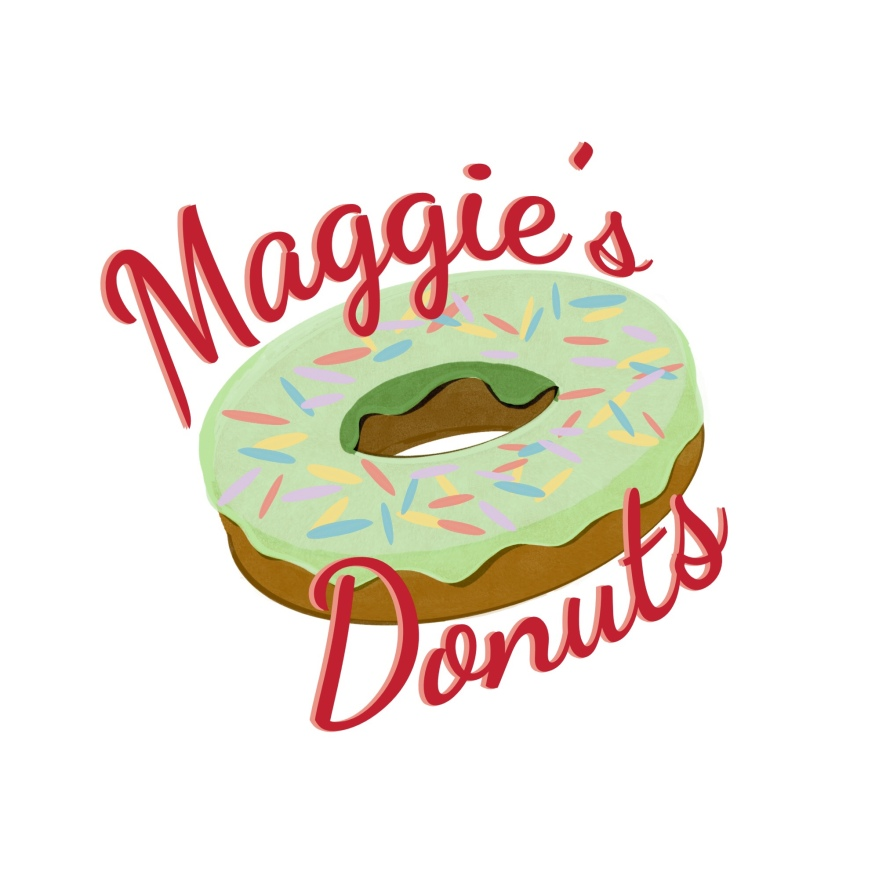 donut covered in green icing with colored sprinkles around the donut in cursive red script is text Maggie's Donuts