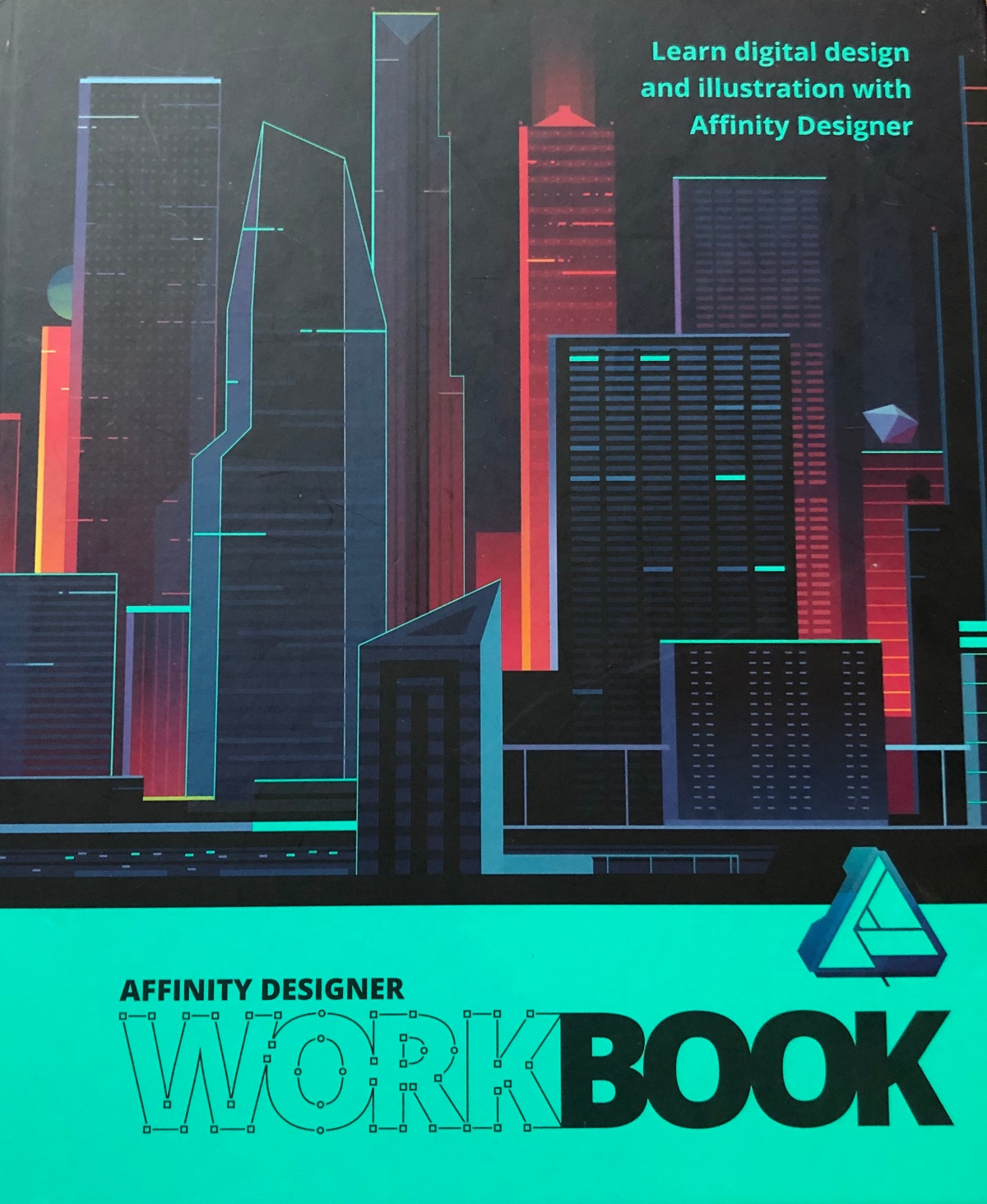 cover of affinity designer workbook. a text book cover for a vector graphics application