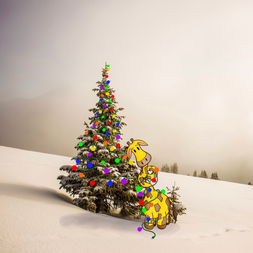 photo graph of a fir tree in a snow bank with colored tree lights wrapping around it and getting tangled up in a cartoon giraffe whose neck is all tangled up in the lights at the bottom