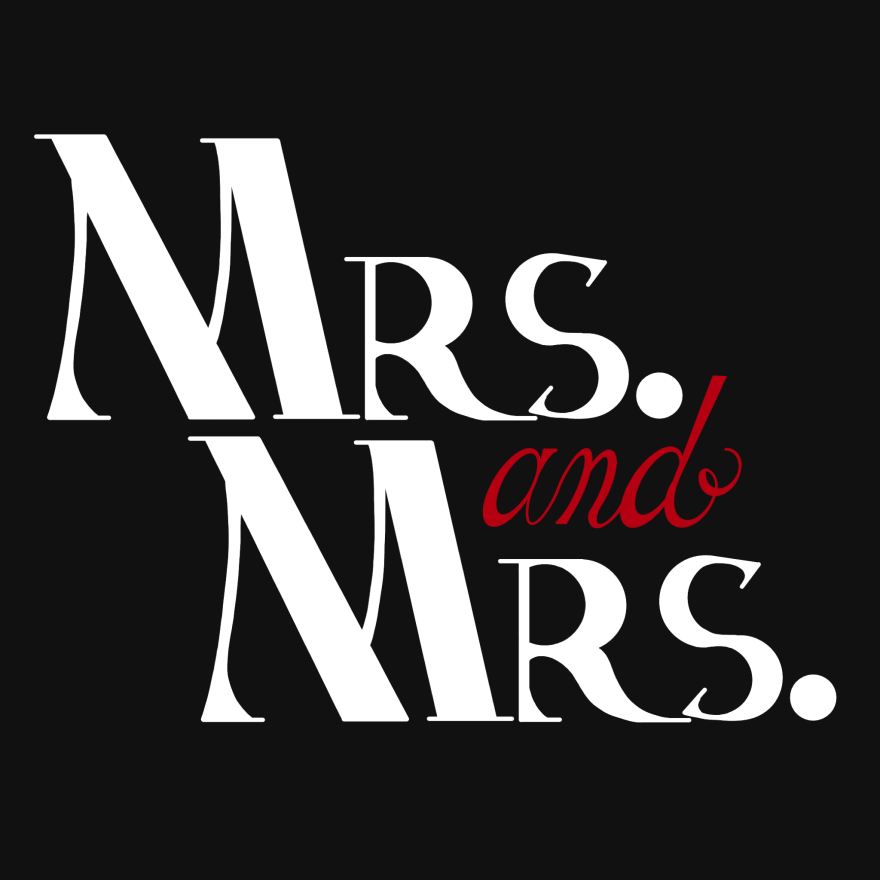 hand lettering and calligraphy of white text saying mrs. above mrs. with the word and in red calligraphy entire image is on black backdrop