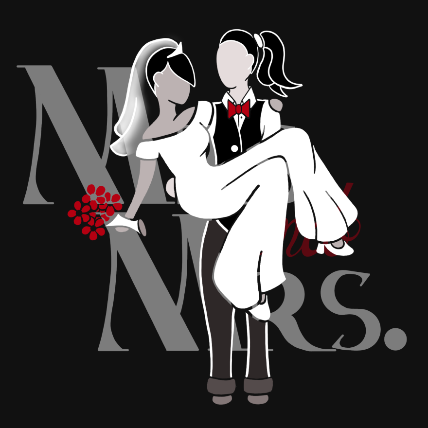 bride in vest and red bow tie carrying bride in white jumpsuit, and vail holding red flowers. behind them in faded white text reads Mrs. and Mrs. with black background