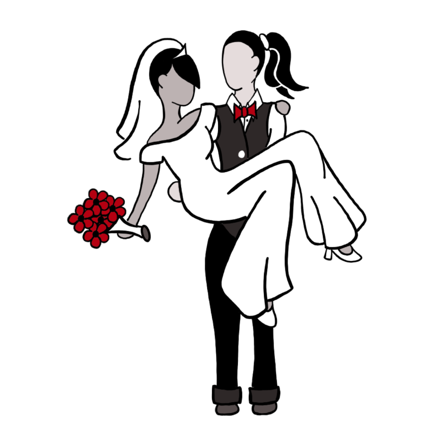 bride wearing vest suit and red bow tie holding bride in white jumpsuit and vail holding red flowers; on white background
