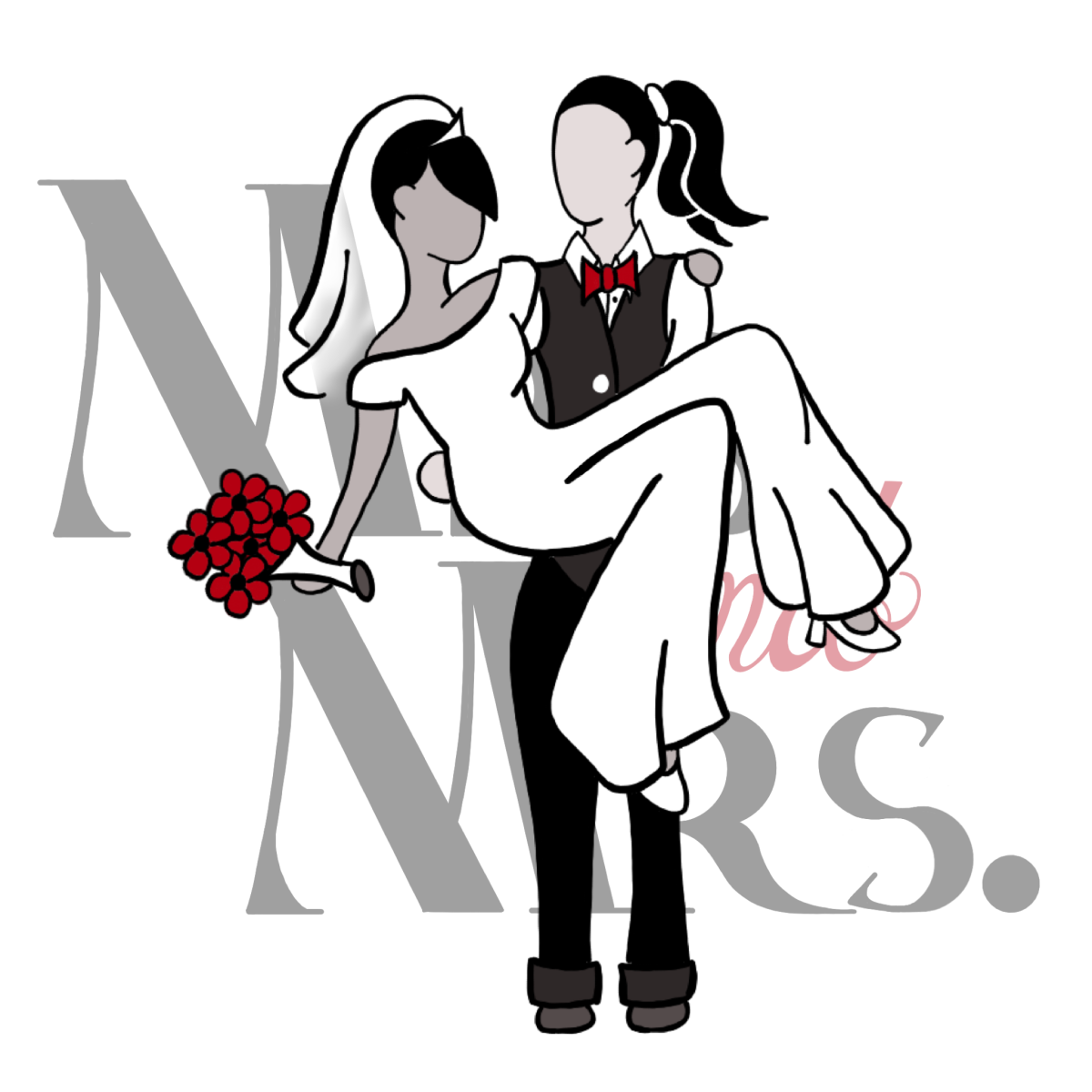 bride in vest and red bow tie carrying bride in white jumpsuit, and vail holding red flowers. behind them in faded black text reads Mrs. and Mrs. with white background