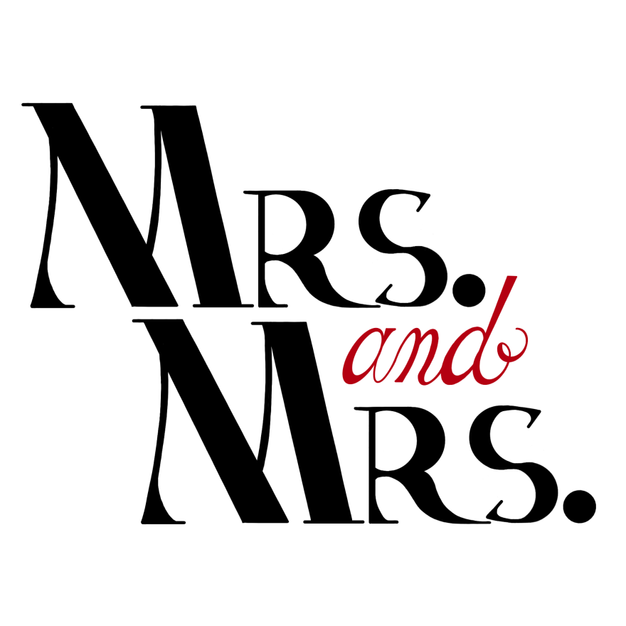 hand lettering and calligraphy reading mrs. and mrs. the text is black with the word and in red on white background