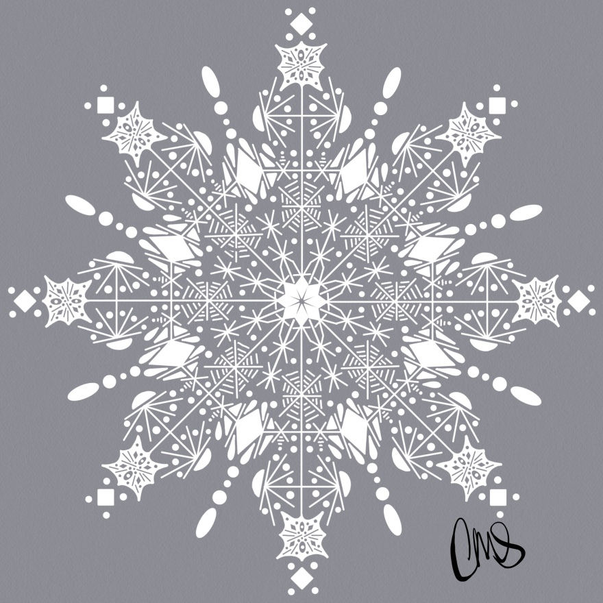 a hand drawn take on the paper cut snowflakes ❄️
