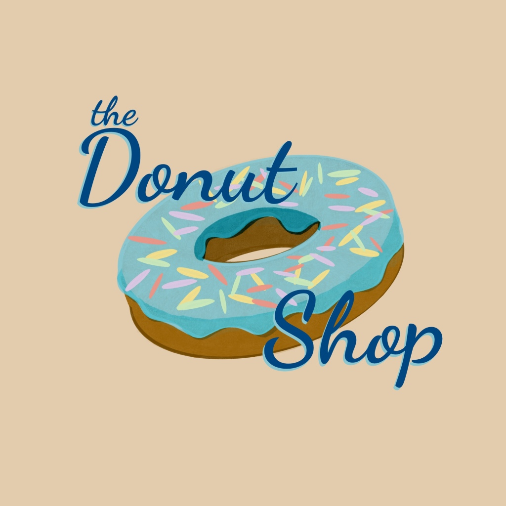 Drawing of donut with blue icing; with purple, green, yellow, and pink sprinkles. text around donut reads the donut shop