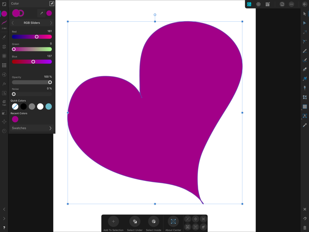 magenta heart made with the vector draw persona
