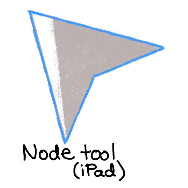 grey arrow with blue outline and white shadow across left