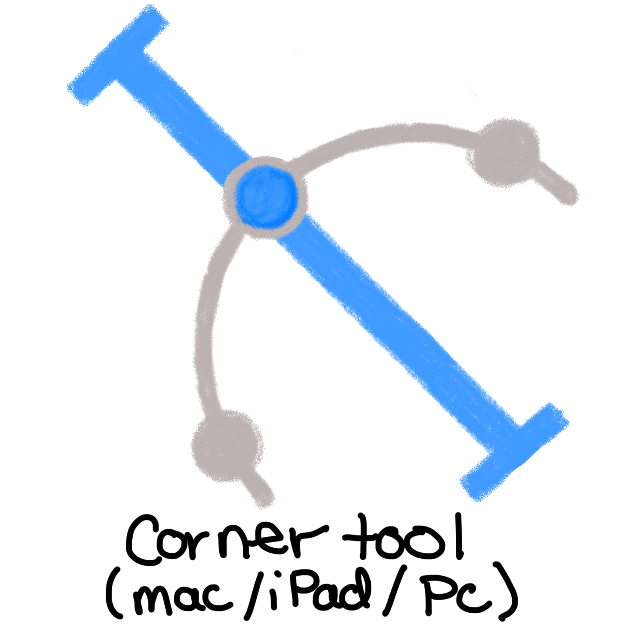 blue bar with grey arc (half circle) crossing through. The blue bar is at 45 degree angle and the arc crosses through the top third of the bar