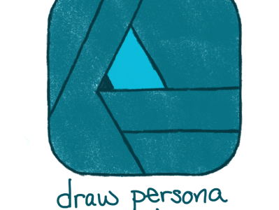 colored pencil sketch of the affinity designer icon for the draw persona color is sea foamy / art deco / teal green