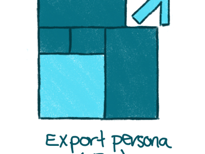 colored pencil sketch of the affinity designer icon for the export persona; color is sea foamy / art deco / teal green