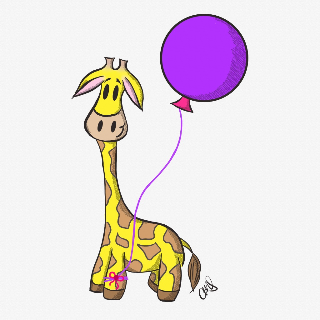 yellow and brown cartoon giraffe with a purple balloon tied to her front left hoof