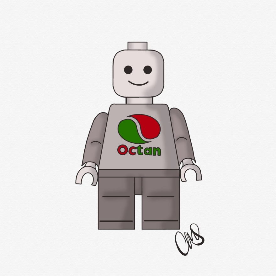 black and white ink sketch of a basic lego man, octan logo is on chest and is the only part that is in color (red and green)