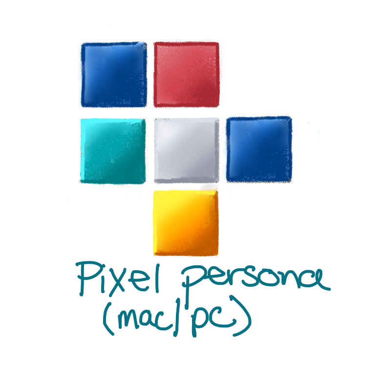 colored pencil sketch of the affinity designer icon for the pixel persona; six squares 2 are blue, one is red, one yellow, one white/grey and one teal blue