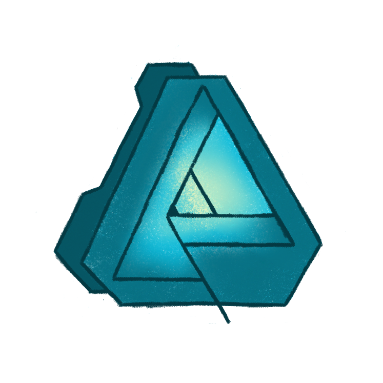 colored pencil sketch of the affinity designer logo, drawn in shades of art deco sea foamy/ teal-ish green