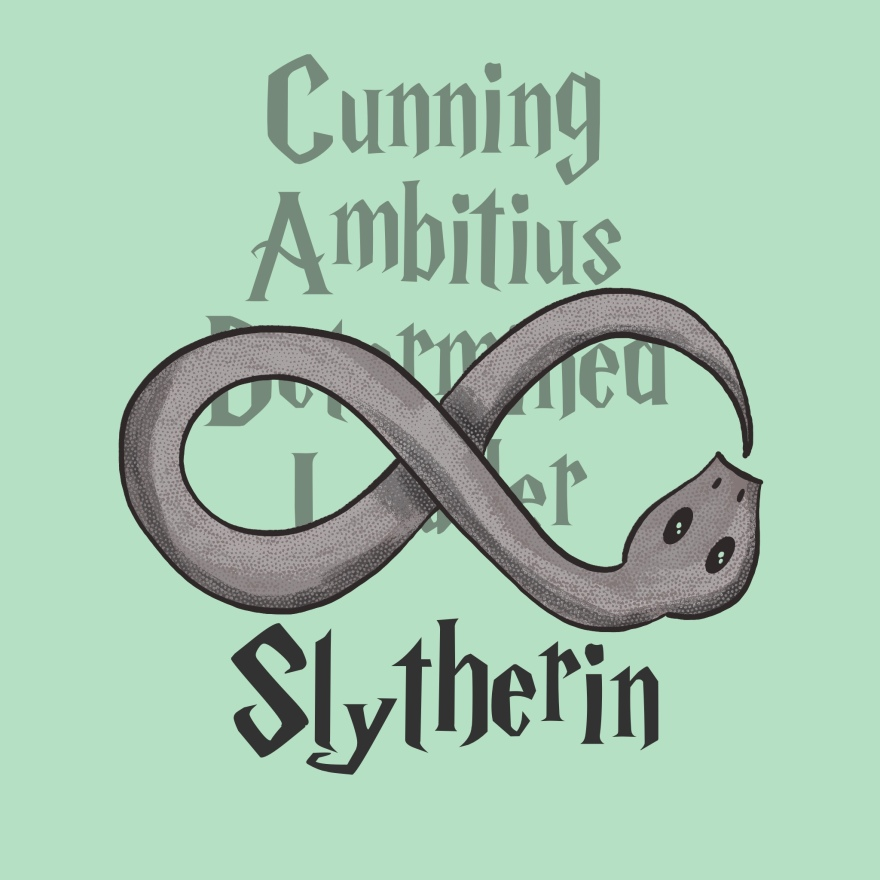 black and white snake wrapping around itself to make the infinity symbol; light text behind snake reads cunning, ambitious, determined (behind snake), and leader (behind snake); below snake reads Slytherin in black
