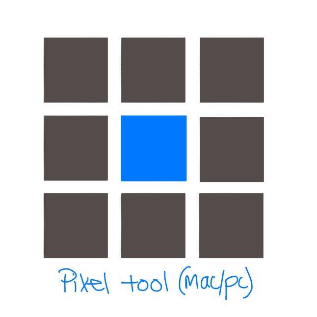 Grid of nine squares, outer 8 are slate grey and inner square is blue