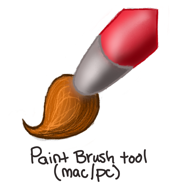 red paint brush with brown bristles