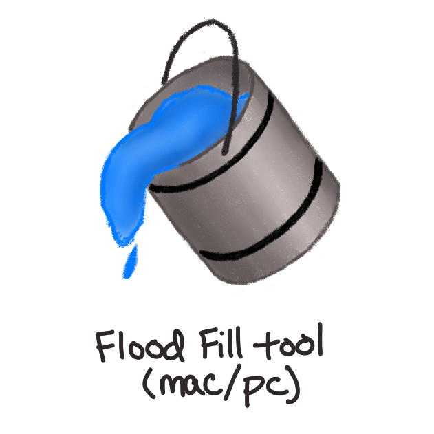 grey paint bucket with black handle and blue paint spilling out