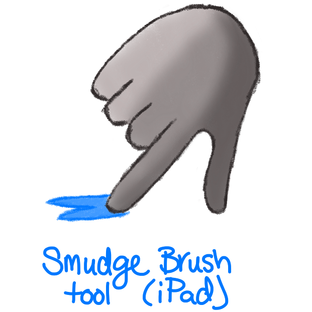 grey shaded hand with index finger smudging blue paint