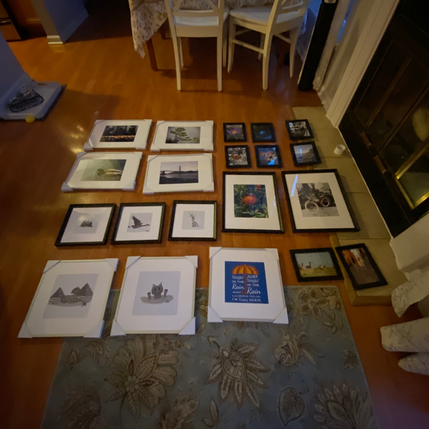 slightly blurry photograph of my rough layout when i was still in planning stages of how i was going to set up my wall when i got to the show.