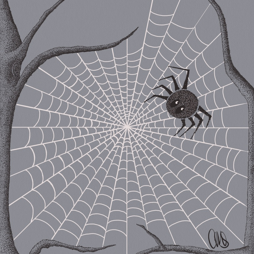 drawing of 2 tree branches between which there is a spider web with a spider. the trees and spider are made with a lot of little dots and the web is solid white lines. all the background is grey