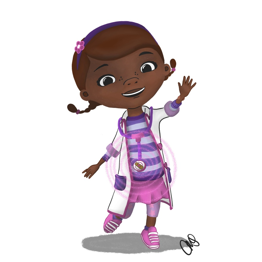 hand drawn illustration of Doc McStuffins from the disney junior show with the magic emanating from her stethoscope