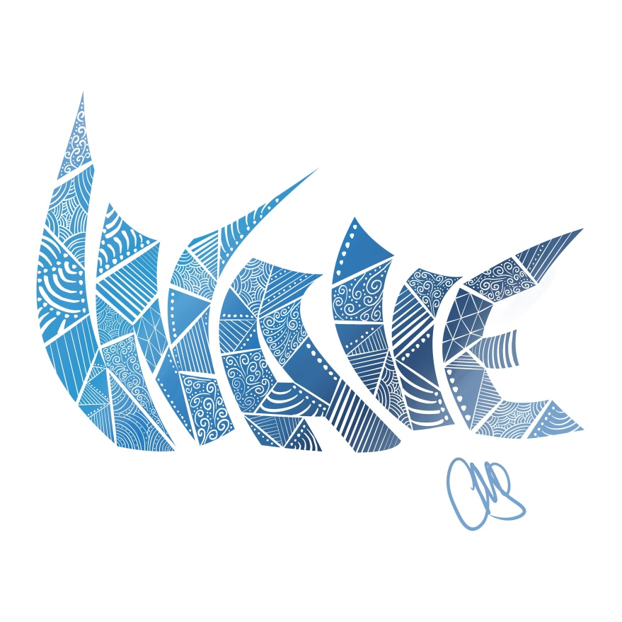 the word wave typed out in a bold font and cut up with a kind of stained glass design ... colors are different shades of blue