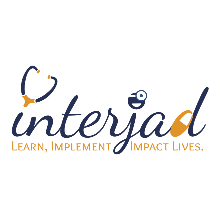 "cursive text reading interjad, above the i there is a stethoscope, above the j is a happy doctor, and the d is converted into a pill. Below the name is a tagline that reads, ""Learn, Implement, Impact lives""."