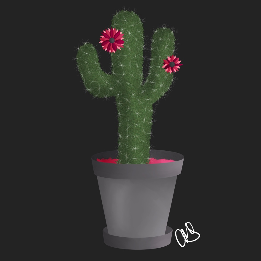 illustration / digital painting of a cactus in a planter with 2 pink flowers... the background is slate grey