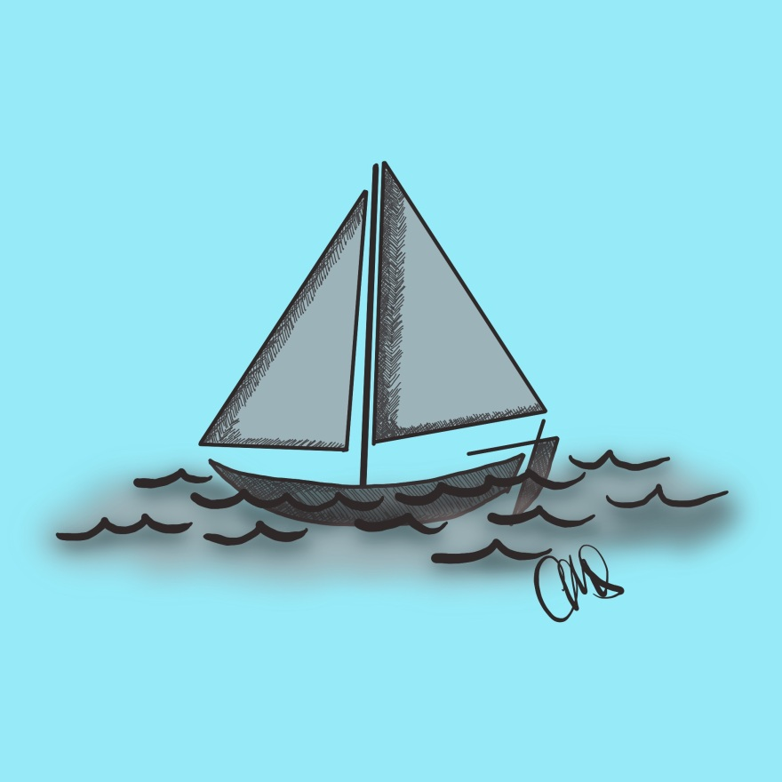 black and white ink drawing of a sail boat on the water, background of image is blue