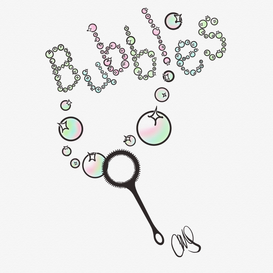 pen and ink digital drawing of bubbles flowing out of a bubble stick and floating up to spell the word bubbles. the bubble stick is black and the bubbles have various shades of pink, blue and green.