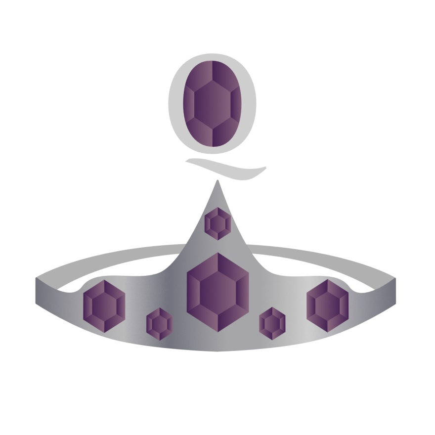 image of silver crown with purple gems above the point of the crown is a capital Q and inside that is another purple gem.