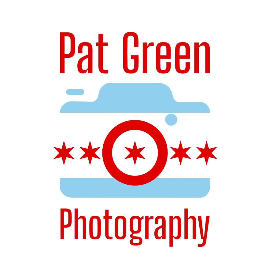 camera icon with sky blue stripes on top and bottom and 5 red six pointed stars across middle. the center star is in the middle of a red camera lens icon. above the camera reads Pat Green in red, and below the camera reads Photography also in red.