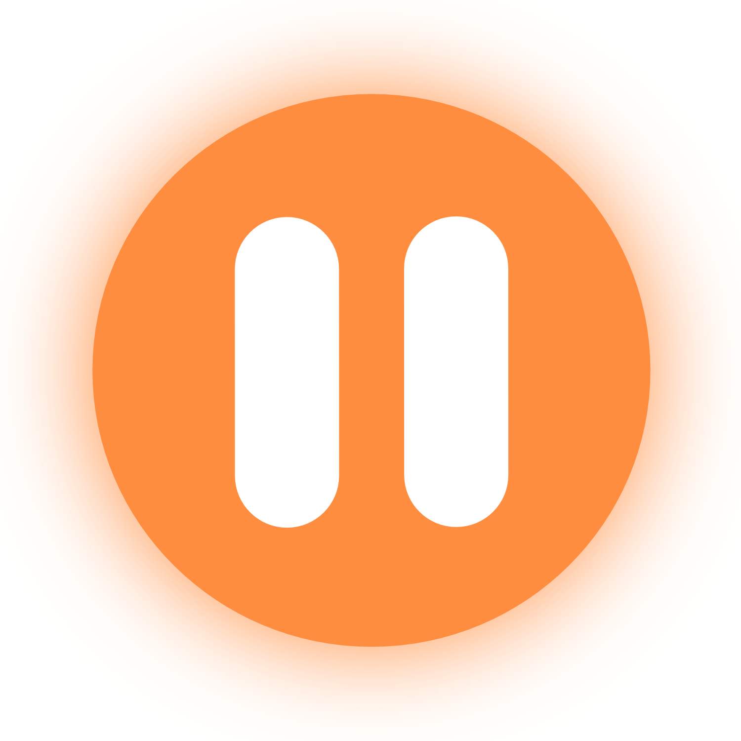Orange circle with a white pause symbol on the middle. There is an orange glow surrounding the circle.