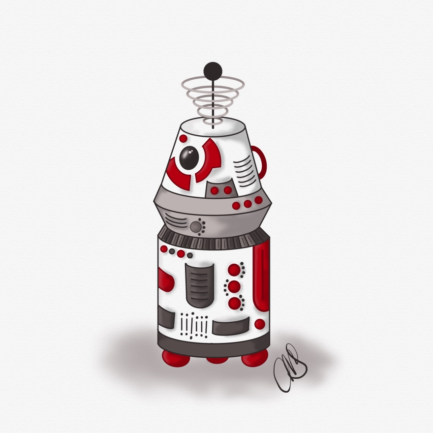 digital pen and ink sketch of an R2 robot inspired by star wars and R2-D2 however it it is red, black, and white.