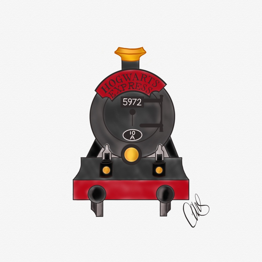 digital pencil and ink sketch of the front of the Hogwarts Express (from the Harry Potter books). looks like an old fashioned steam engine from the 1800s.
