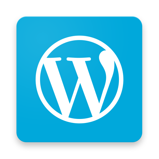 White W with a circle around it on a blue background. WordPress app icon