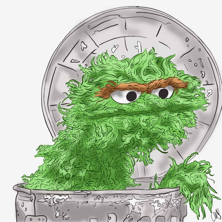 Digital pen and ink color sketch of the green Oscar the Grouch muppet popping out of his trash can