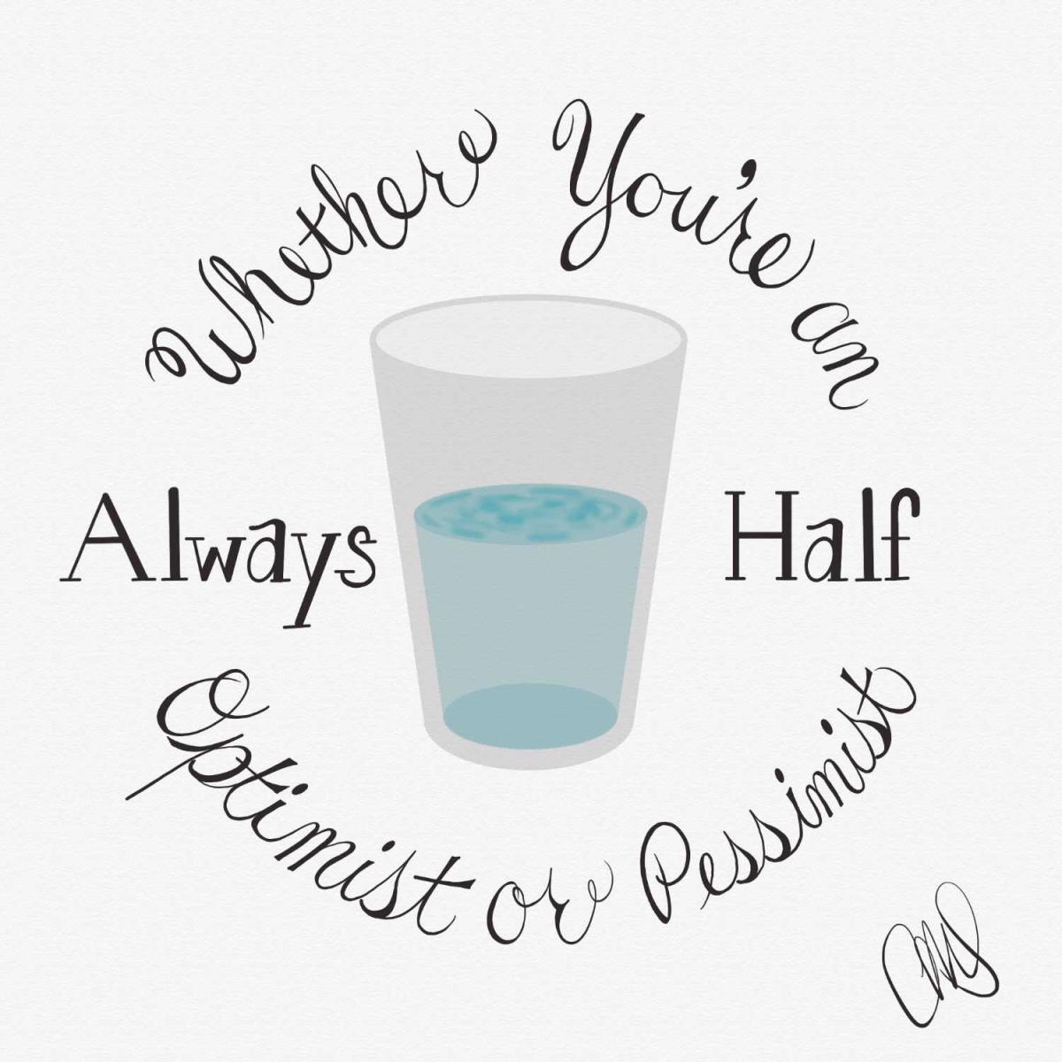"""image of half filled glass of water, text circling the glass reads """"whether you're an optimist or pessimist, always half"""""""