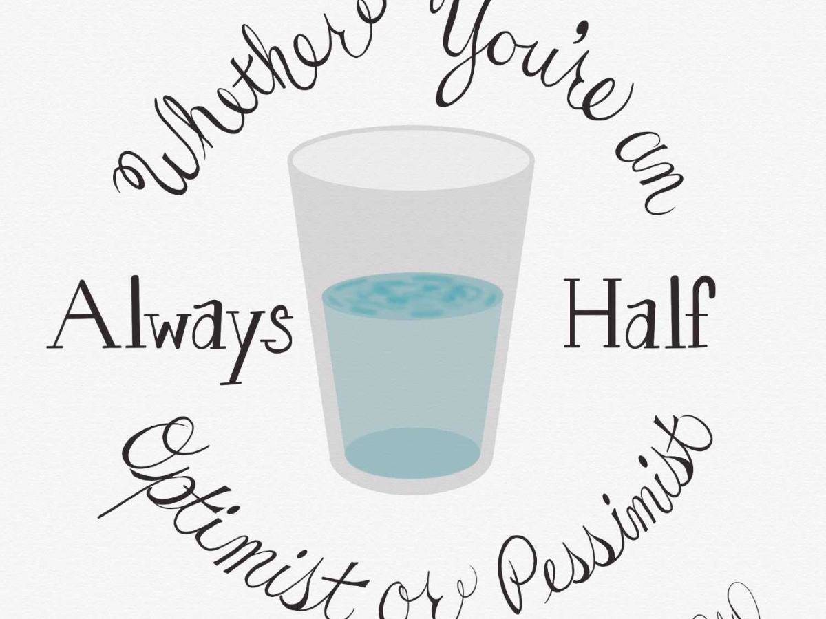 "image of half filled glass of water, text circling the glass reads ""whether you're an optimist or pessimist, always half"""