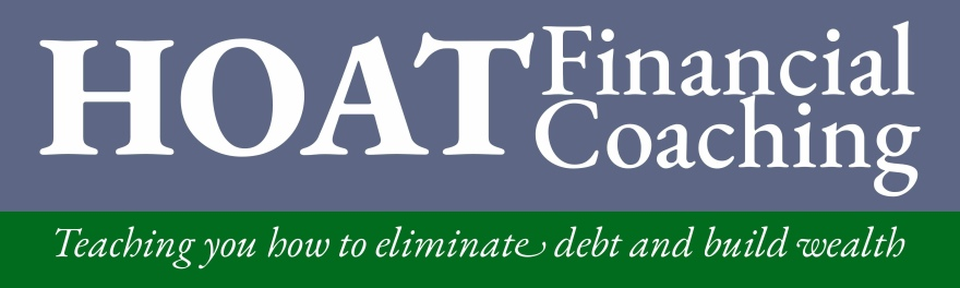 "text based graphic logo, there is a grey rectangle above a narrower green rectangle. in the grey rectangle it reads ""HOAT Financial Coaching"", and in the green rectangle it reads ""Teaching you how to eliminate debt and build wealth"""